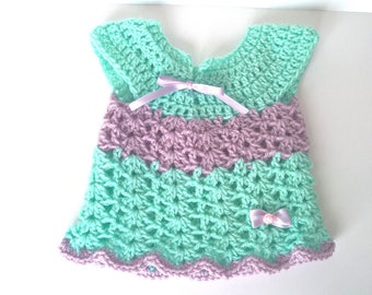 Crochet baby girl dress 0/3 months light green aqua and lilac