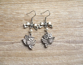 Owls owls Pearl Earrings