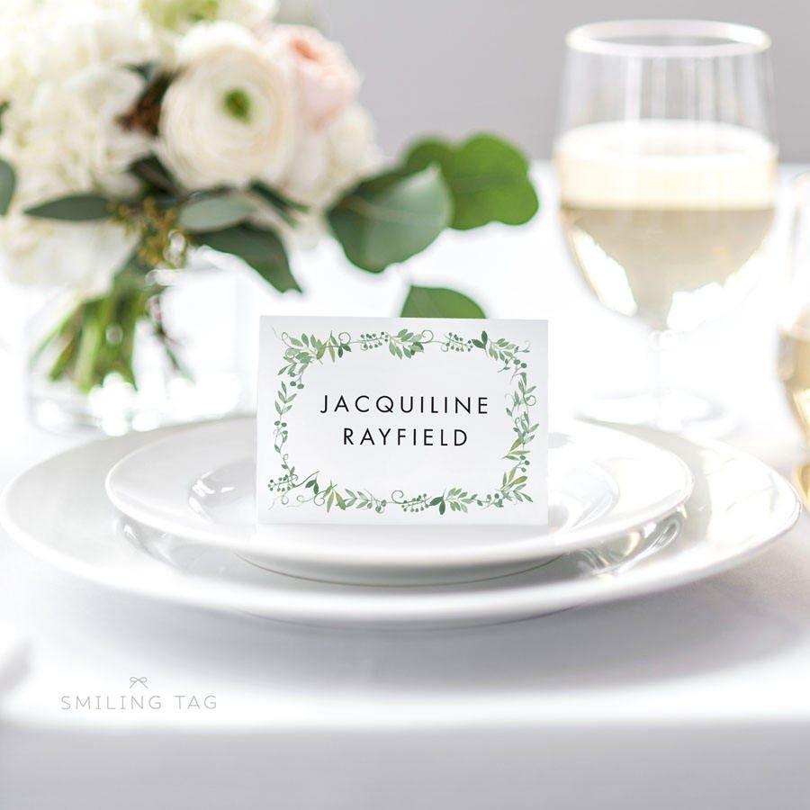 Personalized Printable Wedding Place Cards - Modern Botanical Escort ...