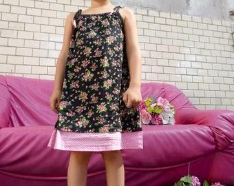 Toddler dress///Girl's dress///Summer Flower dress///Child's clothing///Liberty print///TITLI LIBERTY Black//MIMISAN//BiBoOshKa