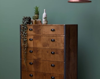 INDUSTRIAL Chest of Drawers - Solid Oak - Bedroom Furniture - 6 drawers