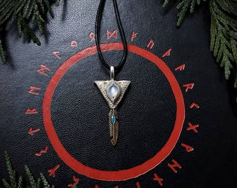 Valkyrie Pendant with Moonstone / Crystal Pendant / Crystal Jewelry / Handmade / Unique / Pagan / Heathen / Amulet / Nordic