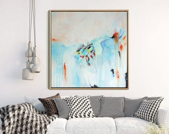 "Abstract Wall Art, Abstract Canvas Painting, Original Artwork, Blue And Pink Abstract Art,  Contemporary Art, Wall Decor, Wall Art, 18"" x18"""