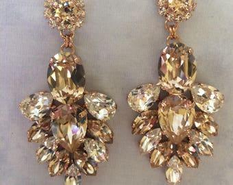 Morganite Swarovski Crystal Statement Earrings, rose gold wedding earrings, bridal earrings, teardrop earrings, chandelier earrings