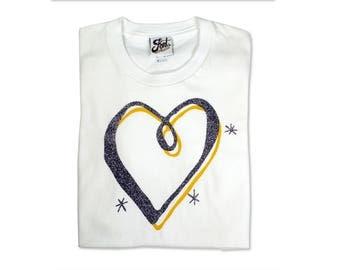 Love Heart T-Shirt, Women's Valentine gift, Teen glitter top, Mother & daughter matching clothing