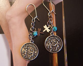 Silver Gemini Zodiac Earrings