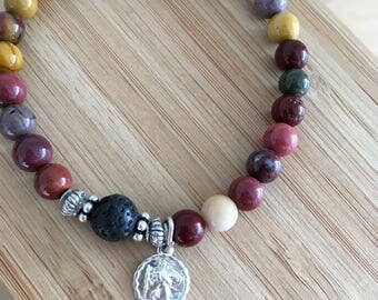Mookaite semi precious stone bracelet with silver charm