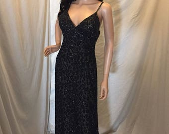 Vintage 80s Lillie Rubin 100% Silk Dress Black Beaded with Leopard Accents Size M