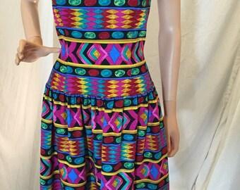 Vintage AJ Bari 100% Silk Strapless Multicolor Geometric Print Dress with Bonus Black Bolero 10