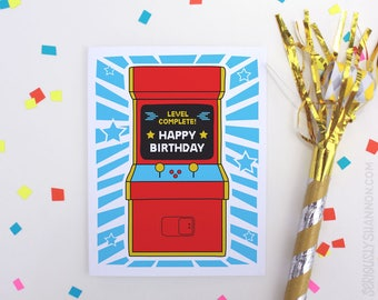 "Cool Birthday Card, Friend Birthday Arcade Game Birthday Card, Video Game Card, ""Level Complete"" A2 Retro Birthday Card"