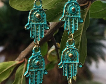Turquoise Hamsa Hand Charms Earrings, Hamsa Jewelry, Hamsa Earrings, Hamsa Hoop Earrings, Fatima Hand Earrings, Mother's Day Gift
