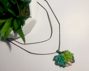 Handmade Polymer Clay Round Succulent Pendant Necklace