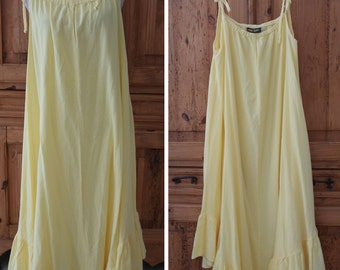 Cotton Palm USA Casual Tie Shoulder A-Line Flare Shift Yellow Light Maxi Dress Ruffled Asymmetrical Hem OS