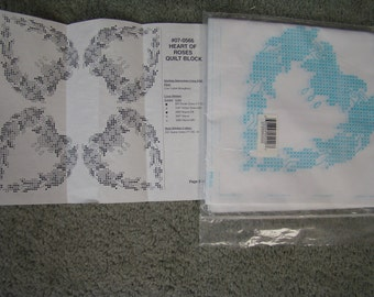 pkg.of 6--- 18 by 18 in. heart of roses quilt blocks*opened- unused-stamped for you to embroidery