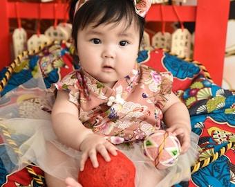 chinese cheongsam romper handmade for baby gift TuTu set pink