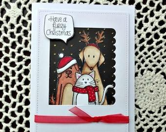 Cute Animal Christmas Card, Dog Cat Card, Holiday Greeting Card, Seasonal Card, Xmas Greeting, Stamped Card, Single Card
