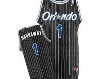Anfernee Penny Hardaway #1 Orlando Magic Black Pinstripe Throwback Jersey (S/M/L/XL/XXL) All Sewn/Stitched!
