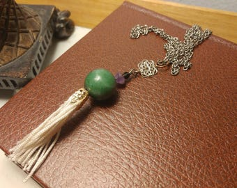Necklace made of recycled material • beautiful genuine stone green and Tassel made of fabric recycled ecofriendly Montreal shop •