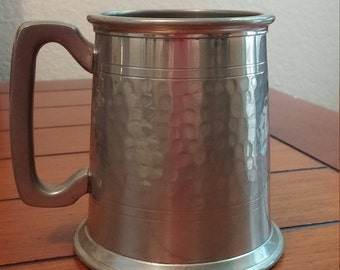 Half Hammered English Pewter Glass Bottom Tankard