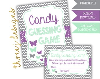 Butterfly Baby Shower Candy Guessing Game Cards and Sign - INSTANT DOWNLOAD - Gray, Lavender and Mint - Digital File - J005