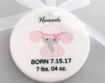 Custom Baby Ornament, Baby Girl Ornament, Baby Elephant Ornament, Birth Announcement Ornament,, Gift for Baby Girl, Baby Ornament