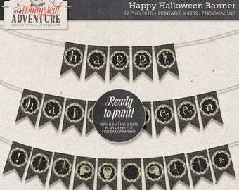 Ideas For Halloween, Happy Halloween Banner, Halloween Garland, Party Decor, Instant Download, Halloween Printable Banner, Skeleton Images