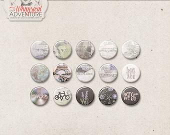 Flair Buttons, Travel Digital Flairs, Pins, Digital Download, Wanderlust Digital Scrapbooking Elements, Vintage Maps, Lavender, Eiffel Tower