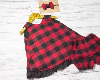 Buffalo Plaid Pinafore Dress Set- Buffalo plaid Ruffle dress, lumberjack birthday, red and black buffalo plaid dress, buffalo plaid shorties