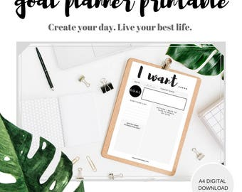 Monthly Goal tracker worksheet, Instant download goal tracking printable, planner pages, Goal Setting List, Goal Planner Worksheet,