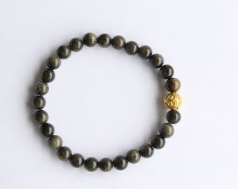 Men's Bracelet, Black Labradorite with Gold Bali Bead