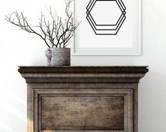 Geometric Art, Black and White, Minimalist Art, Geometric Print Art, Origami Art, Modern Wall Art, Instant Download, Minimal Print Art