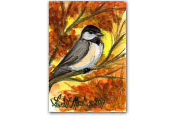 Chickadee Song Bird Autumn LLMartin Original ACEO  Watercolor Free Shipping USA Baby Nursery New Mom Toddler Child