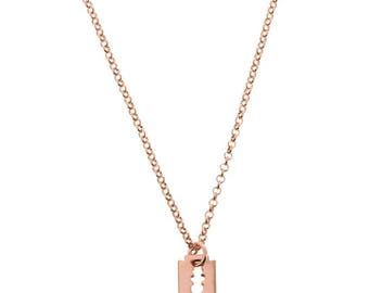Plated razor blade pendant necklace gold
