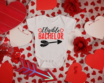 Eligible Bachelor Valentines Funny  Bodysuit or T-Shirt for Baby Toddler Kid Newborn Babies Shower Coming Home Gift Idea Creeper Present