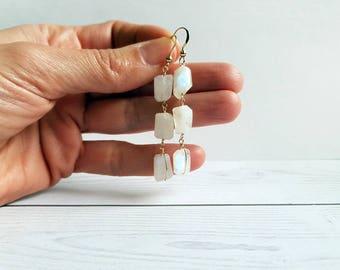 Moonstone earrings. Handcrafted gold earrings with Moonstone gemstones. Rosary earrings with moonstone. Dangle moonstone earrings. Gifts