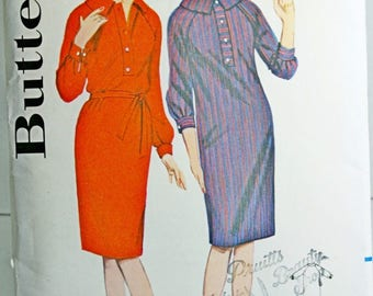 Vtg Butterick 3170 Sewing Pattern Shift Shirt Dress Size 12 Raglan Sleeved Dress 1960s Style
