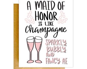 Will You Be My Maid of Honor Card, Funny Maid of Honor Card, Bridesmaid Card, Wedding Card, Bridesmaid Card, Funny Card, Bridesmaid Proposal