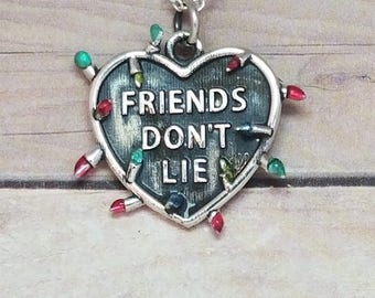 "Sterling Silver Stranger Things ""Friends Don't Lie"" Necklace"
