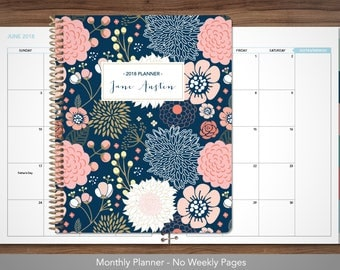 MONTHLY planner 2018 with TABS / 12 month calendar / choose your start month / 2018-2019 month at a glance planner / navy pink gold floral
