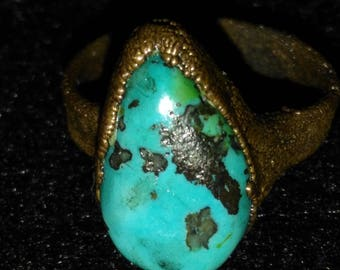 Turquoise electroformed copper ring