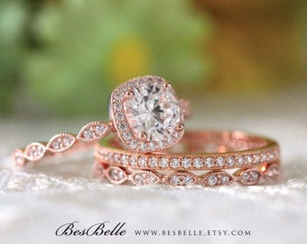 2.17 ct.tw Milgrain Bridal Set-Art Deco Halo Engagement Ring W/ Mixed Eternity Wedding Ring-Rose Gold Plated-Sterling Silver [65355RG-3B]