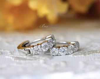 1.0 ct.tw Five Stones Set Huggie Earrings-Half Prong Set Hoop Earrings-Brilliant Cut Diamond Simulant-Bridal Earrings-Sterling Silver [4000]
