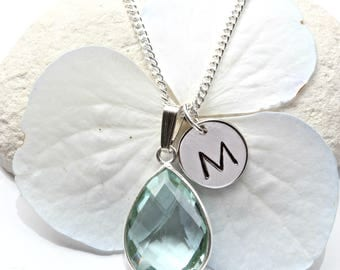 Aquamarine Necklace  - Aquamarine Initial Necklace Silver -  March Birthstone  -  Aquamarine Pendant - Aquamarine Jewelry Jewellery  - A39