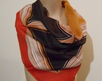 Vintage Orange ladies scarf, 1970s Scarf