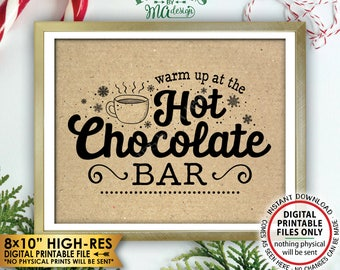 "Hot Chocolate Sign, Warm Up at the Hot Chocolate Bar, Fall Winter Christmas Party, Kraft Paper Style PRINTABLE 8x10"" Instant Download Sign"
