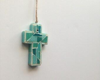 Sea Green Mosaic Wall Cross or Ornament II