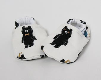 Baby slippers, Crib shoes, Party Bear, Black, White, Gold, Woodland, Fun, Flannel, Cotton, Soft soles, Moccasins, Toddler, Shower gift idea