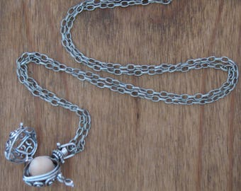 Silver Charm Diffuser Locket. Aromatherapy. Essential oil necklace.