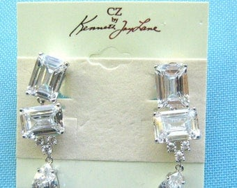 Kenneth Jay Lane CZ Clip Dangle Earrings