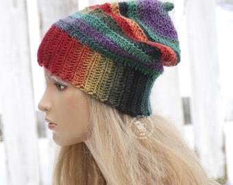 Rainbow crochet Hat  Women's hat Chunky winter hat Colorful beanie Crochet rainbow hat  Gift for her Slouchy beanie Degra2 Winter beanie